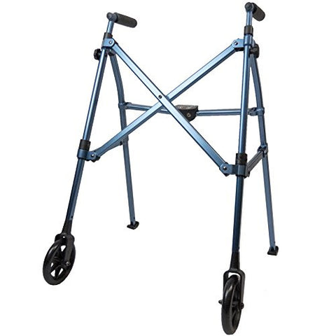 Able Life Space Saver Lightweight Folding Travel Walker with 6 Inch Wheels + Bariatric Frame Supports 400 Pounds Cobalt Blue