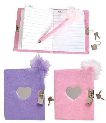 Teen Locking Diary Girl's Plush Heart Journal With Mirror Feather Boa Pen, Assorted Colors 1 Diary