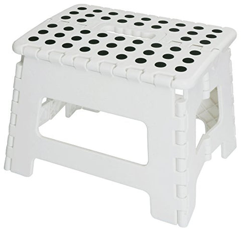 Foldable Stool for Kids and Adults - White - Lightweight Plastic Step Stool - 11-inch Wide and 8-inch Tall - By Utopia Home