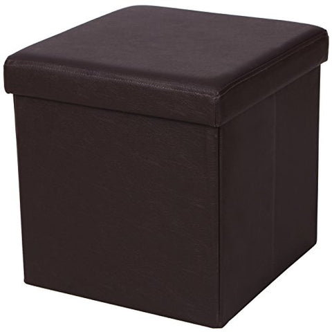SONGMICS Faux Leather Folding Storage Ottoman Cube Foot Rest Stool Seat 15  x 15  x 15  Brown ULSF10B
