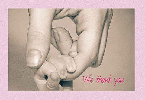 We Thank You New Baby Thank You Note Cards - First Connection Girl - 20 Blank Greeting Cards and Matching Envelopes