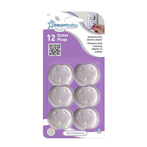Dreambaby Outlet Plugs, Silver, 12 Count