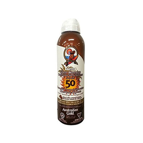 Australian Gold Sheer Coverage SPF 50 Continous Sunscreen Spray with Kona Bronzers, 6 Fl Oz