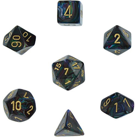 Polyhedral Dice, Lustrous Shadow w/ Gold 7-Die Set CHX 27499