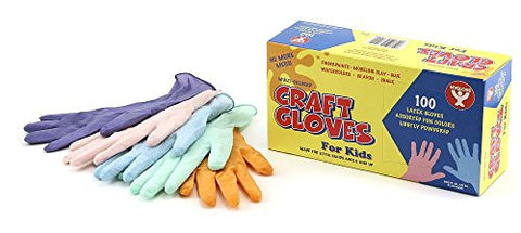 Hygloss Latex Craft Gloves, Kids Size, Assorted Colors,