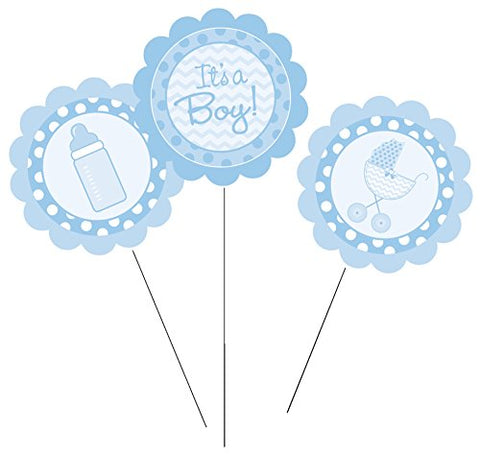 Creative Converting 260012 3 Count It's a Boy Centerpiece Sticks, Blue