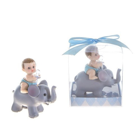 Lunaura Baby Keepsake - Set of 12 Boy Baby Holding Pacifier Sitting on Elephant Favors - Blue