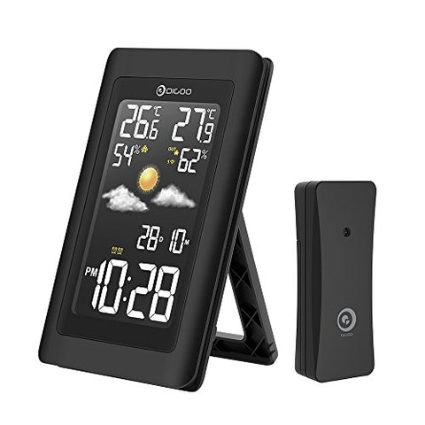 DIGOO DG-TH11300 Wireless In&Outdoor Hygrometer ThermometerColor Weather Staion, 3 Channels outdoor sensor, Wide Visual Angle With Forecast Sensor,Dual Alarm Clock Setting