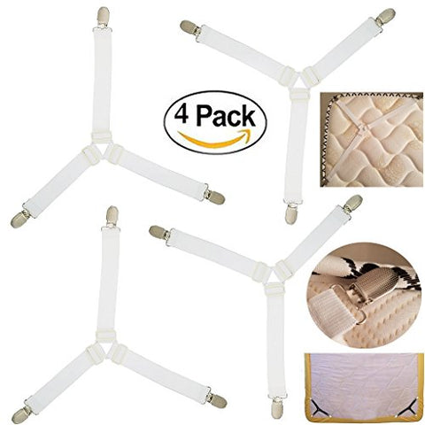 Triangle Sheet Band Straps Suspenders Adjustable Fitted Bed Sheet Corner Holder Elastic Straps Fasteners Clips Grippers Mattress Pad Cover Fitted Sheet Bed Suspenders HEAVY DUTY (4 pack(white))