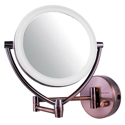 Ovente LED Lighted Wall Mount Vanity Mirror, Polished Chrome, 7.5 Inch, Antique Brass, 2.75 Pound