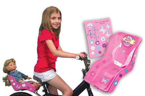 Ride Along Dolly Bike Seat with Decorate Yourself Decals (Fits American Girl and Standard Sized Dolls and Stuffed Animals)