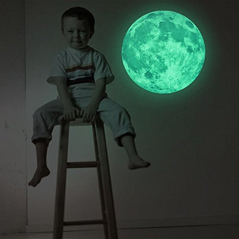 Happy Hours - 30cm Removable Moon Luminous Green Wall Stickers / Unique Wall Decors Glow in Dark Wall Sticker for Kids, Boy, Girl and Childrens Room, Playroom, Bedroom