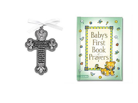 Baby CRIB CROSS & PRAYER Book - Gift Boy or Girl BAPTISM BOXED Guardian Angel