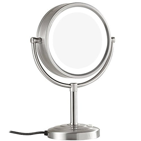 GURUN8.5-Inch Tabletop Double-Sided LED Lighted Makeup Mirror with 10x Magnification, Nickel Brushed Finish M2208DN(8.5in,10x)