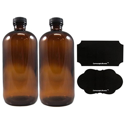 16oz Amber Glass Bottle with Reusable Chalk Labels and Lids , Refillable Glass Bottles, with Black Screw On Lid