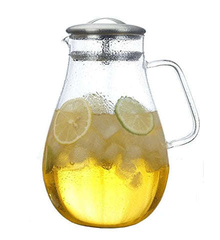 Gobize Large Borosilicate Glass Pitcher Iced Tea Pitcher with Handle and Stainless Steel Lid, 64 Oz Heat Resistant Water Carafe Pitcher Beverage Pitcher with Lid for Hot Water or Cold Water