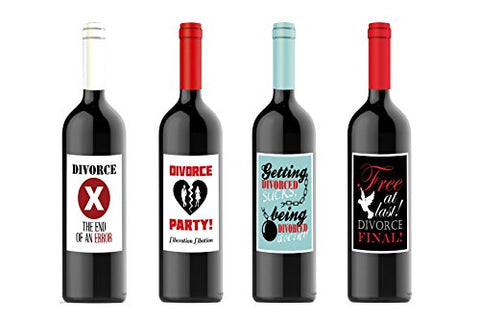 Divorce Party Celebration Custom Wine Labels for Four (4) Bottles 4.25 x 5.5 each