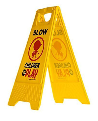 Slow Children at Play Yard and Driveway Safety Sign (Double-Sided, Yellow) - Slow, Children at Play