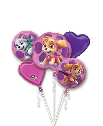 Paw Patrol Girls Pup Skye and Everest Foil Balloons Birthday Party Supplies (5 Piece Bouquet)