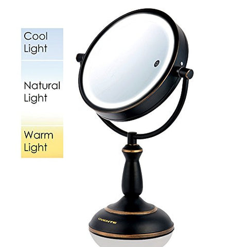 Ovente Battery Operated 8.5 inch SmartTouch Cool, Warm, Daylight LED Lighted Mirror, Tabletop Vanity Mirror, 1x/10x Magnification (Hand Painted Oil Rubbed Bronze)