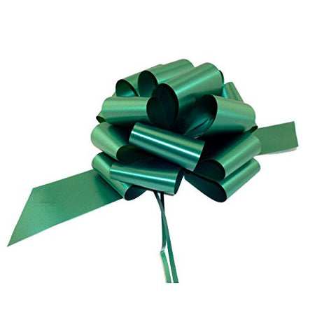 Large Hunter Green Pull Bows - 9 Wide, Set of 6, Decorative Christmas Gift Ribbons