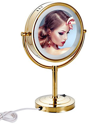 Cavoli 8.5 inch LED Makeup Mirror with 10x Magnification,Tabletop Two-sided ,Gold Finish(8.5in,10x)