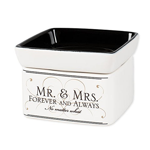 Mr & Mrs Forever and Always Electric 2 in 1 Jar Candle Wax Tart Oil Warmer