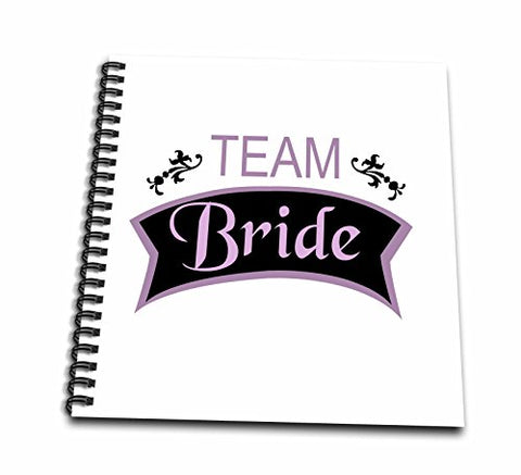 3dRose db_151560_2 Team Bridein Pink and Black Fun Pre-Wedding Girls Night Out Bridesmaids Bachelorette Hen Party Memory Book, 12 by 12-Inch