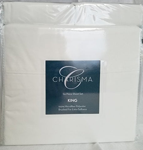 Charisma Microfiber 6 Piece Sheet Set - New Colors (White), King