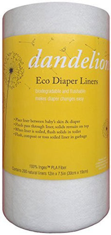 Dandelion Diapers Natural Diaper Liners, Compare To Grovia Bioliner Biodegradable Flushable, 100 Percent Ingeo Liner 200 Sheet Roll