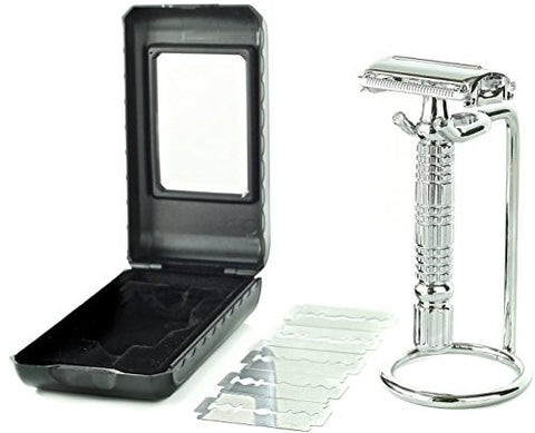 Elkaline Double Edge Butterfly Open Safety Razor Shaving Kit + 5 Razor Blades + Razor Stand + Travel Case Set - Great Gift for Men and Women