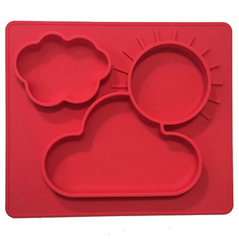 One-piece silicone placemat + plate for kids. No spill 3 Large sections for solids & liquids. Red