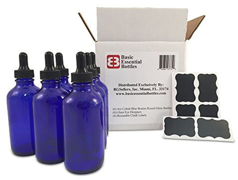 (6) 4 oz Empty Cobalt Blue Glass Bottles W/Glass Eye Droppers and (6) Chalk Labels for Essential Oils, Aromatherapy
