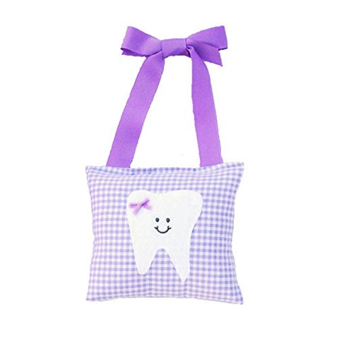 Girl's Tooth Fairy Pillow in Lilac Gingham Print