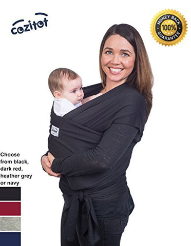 Black Baby Sling Carrier Wrap by Cozitot | Soft & Stretchy Baby Carrier | Baby Carrier | Small to Plus Size Baby Wrap | Nursing Cover | Best Baby Shower Gift