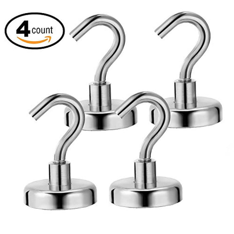 Ninth Five 25lb Magnetic Hooks,Strong Powerful Heavy Duty Neodymium Magnet Hook - Best for Your Refrigerator and Other Magnetic Surfaces