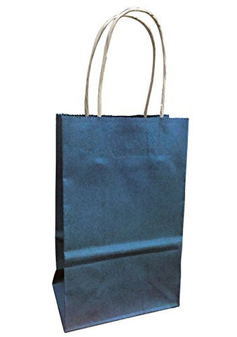 Small Colorful Kraft Paper Bags with Natural Fiber Handles, 5.5 wide (Navy Blue)