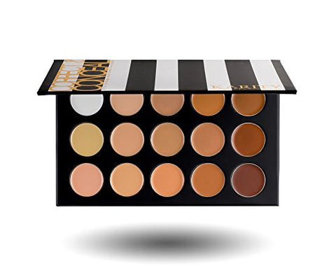 15 Full Coverage Highly Pigmented Cream Based Professional Concealer Palette Face Makeup Kit Set Pro Palette High-end Formula