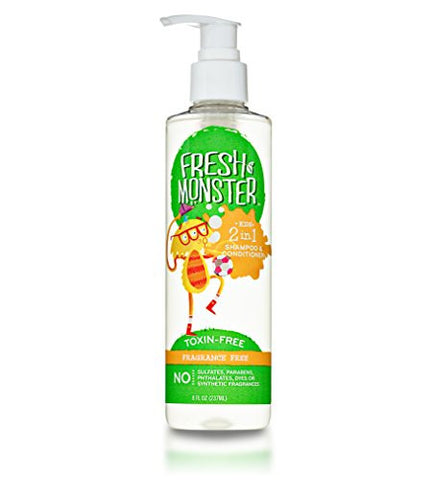 Fresh Monster 2-in-1 Kids Shampoo & Conditioner, Fragrance Free (8oz) - Toxin-Free - Sulfate-Free - Paraben-Free - Natural Botanical Extracts - Hypoallergenic - Natural Kid Shampoo