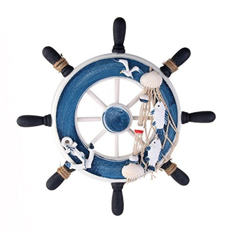 WINOMO Beach Boat Ship Steering Wheel Fishing Net Home Decoration - Blue