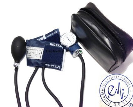 EMI INFANT sized Aneroid Sphygmomanometer Blood Pressure Monitor Set with Bulb, Gauge, and Infant-size Cuff. Includes Convenient Carrying Case