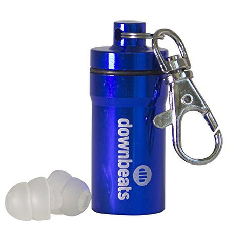 DownBeats Reusable High Fidelity Hearing Protection: Ear Plugs for Concerts, Music, and Musicians (Clear Ear Plugs, Blue Case)