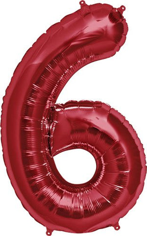 NorthStar 00120 Number 6 Foil Mylar Balloon, 34 , Red