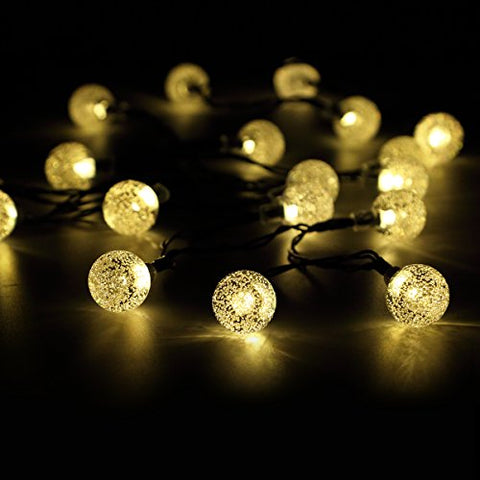 50 LED Solar String Lights Waterproof Solar Garden Lights Panpany 22ft Crystal Ball Chrismas Decorative Lighting for Garden, Patio, Yard, Home, Chrismas Tree, Parties(Warm White)