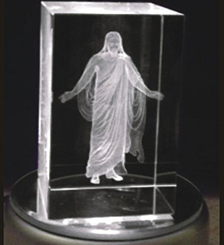 In The Arms of Jesus Night Light or Desk Display Christus in Crystal 3 inches tall with plug in power supply, rotating LED light base with pure white light. In royal blue gift box.