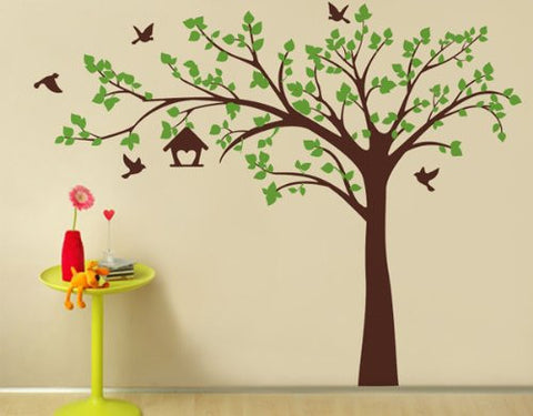 Pop Decors Removable Vinyl Art Wall Decals Mural for Nursery Room, Big Tree with Love Birds Brown and Green