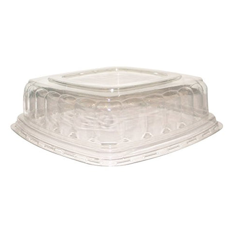 PacknWood Clear Plastic Lid for 11.75  x 11.75  Sugarcane Square Dish (Case of 24)