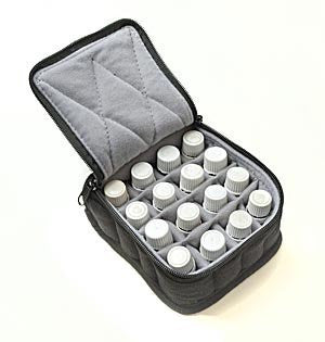 16-Bottle Essential Oil Carrying Cases hold 5ml, 10ml and 15ml bottles - Black with Light Grey interior - 4 high