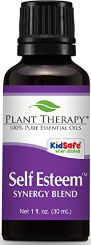 Plant Therapy Self Esteem Synergy Essential Oil Blend. 100% Pure, Undiluted, Therapeutic Grade. Blend of: Spruce, Rosewood, Blue Tansy & Frankincense. 30 mL (1 Ounce).