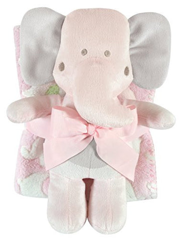 Stephan Baby Ultra-Soft Coral Fleece Crib Blanket and Plush Pink Elephant Toy Gift Set